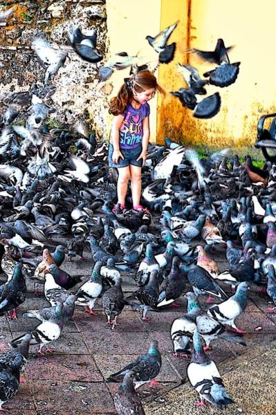 Photograph - Girl With Pigeons by Ricardo J Ruiz de Porras