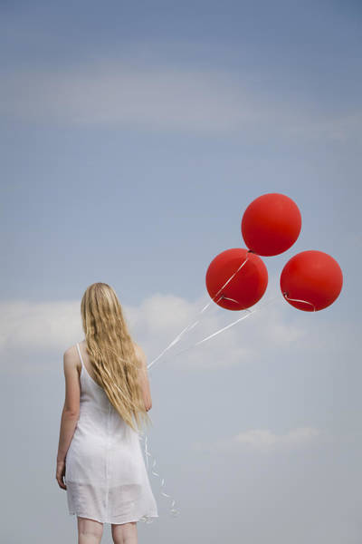 Girl With Red Balloons Art Print