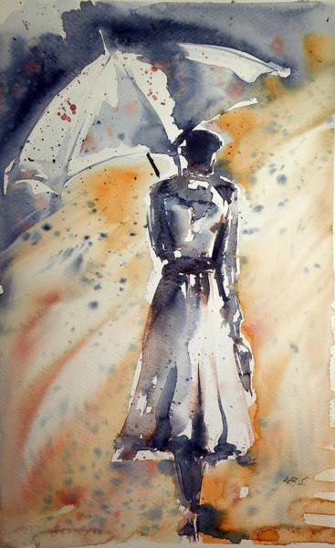 Night Walk Painting - Girl With Umbrella by Kovacs Anna Brigitta