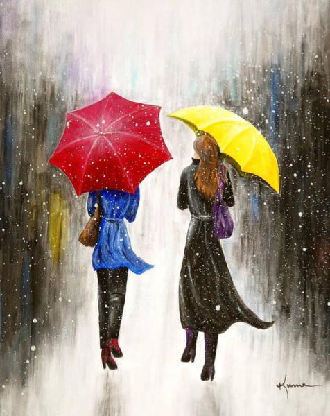 Winter Walk Painting - Girlfriends by Kume Bryant