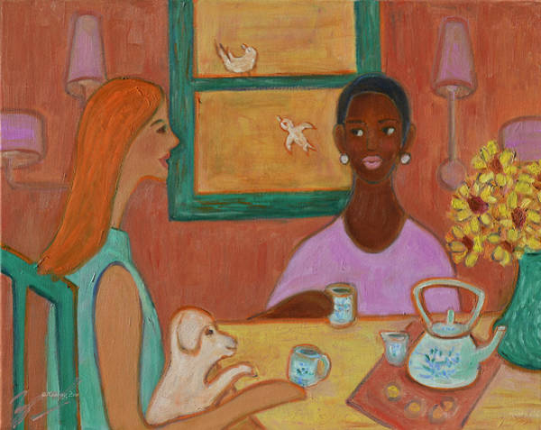 Painting - Girlfriends' Teatime by Xueling Zou