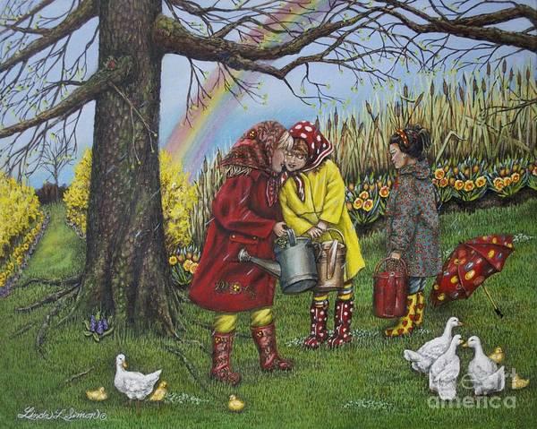 Forsythia Painting - Girls Are Better by Linda Simon