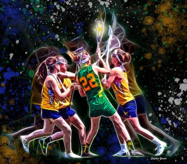 Lax Digital Art - Girls Lax - Battling Through The Triple Team by Stephen Younts