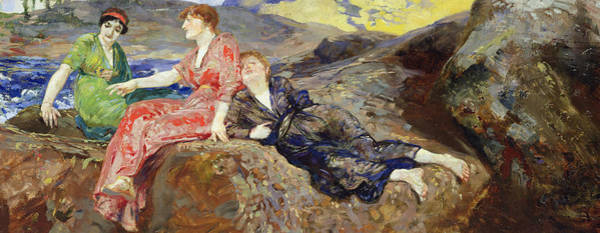 Blue Dress Painting - Girls On The Shore by Max Klinger
