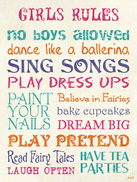Laughs Wall Art - Painting - Girls Rules by Debbie DeWitt
