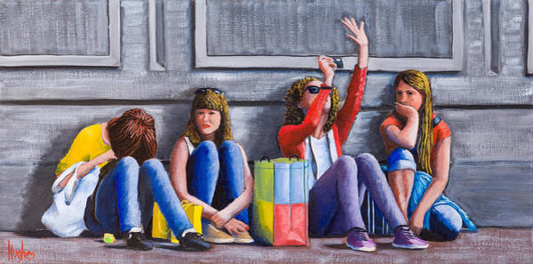 Painting - Girls Waiting For Ride by Kevin Hughes