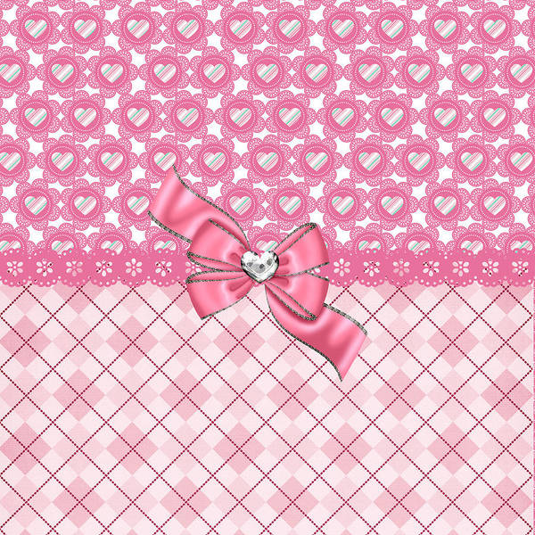 Digital Art - Girly Pink Hearts And Argyle by DMiller