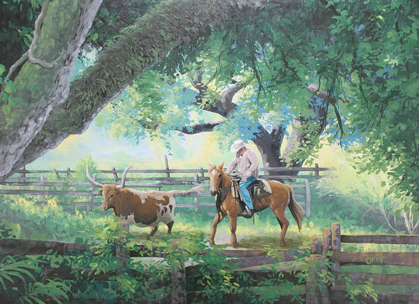 Longhorn Painting - Git In There by Steve Orin