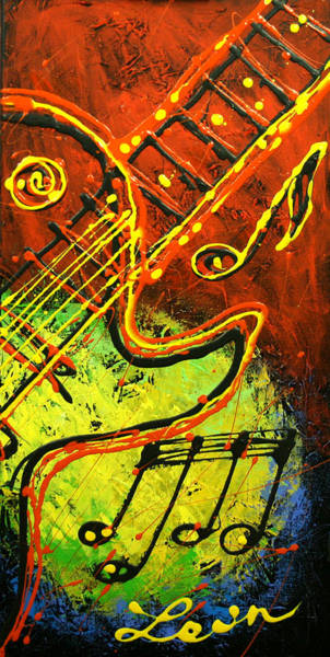 Wall Art - Painting - Guitar by Leon Zernitsky