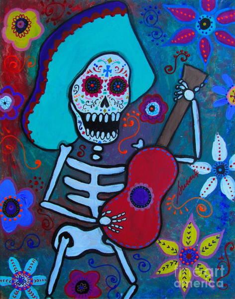 Mexican Guitar Player Painting - Gitarero Dia De Los Muertos by Pristine Cartera Turkus