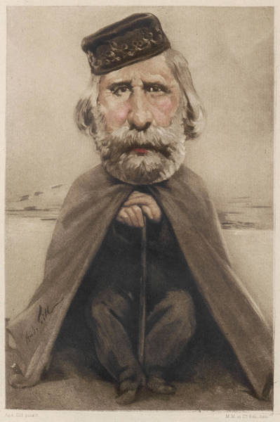 Gill Drawing - Giuseppe Garibaldi  Italian Patriotic by Mary Evans Picture Library