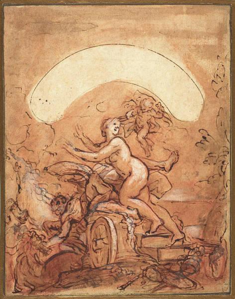 Wall Art - Drawing - Giuseppe Passeri, Italian 1654-1714, Night Fleeing by Litz Collection