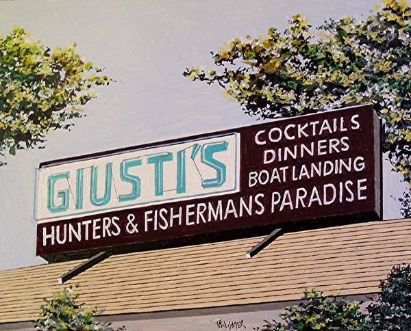 Wall Art - Painting - Giusti's In The Sacramento San Joaquin Delta by Paul Guyer