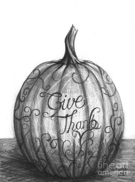 Wall Art - Drawing - Give Thanks by J Ferwerda