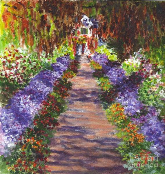 Floral Watercolor Drawing - Giverny Gardens Pathway After Monet  by Carol Wisniewski
