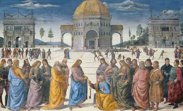Wall Art - Painting - Giving Of The Keys To St Peter, From The Sistine Chapel, 1481 by Pietro Perugino
