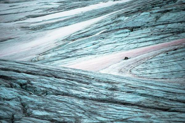 Glacial Erratic Photograph - Glacial Crevasses And Pink Algae Blooms by Peter J. Raymond