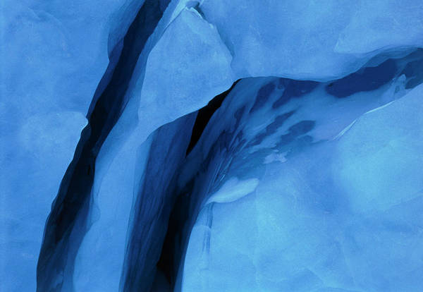 Glacial Photograph - Glacial Crevasses by Simon Fraser/science Photo Library