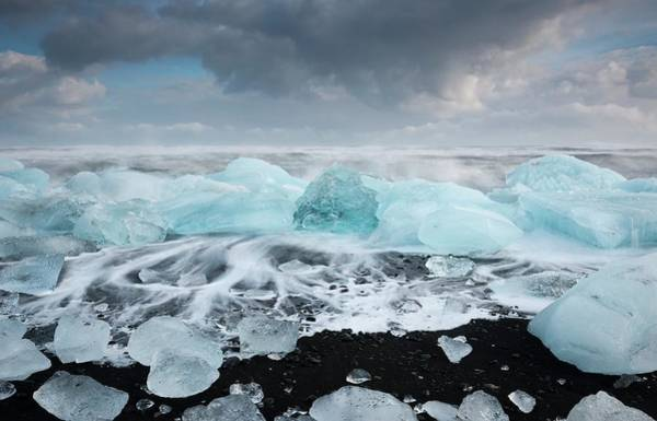 Ice Floe Photograph - Glacial Ice On Volcanic Beach by Jeremy Walker