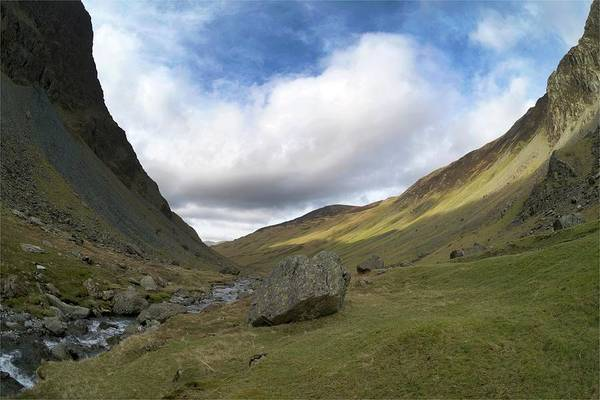 Glacial Erratic Photograph - Glacial Valley At Honister Pass by Sinclair Stammers