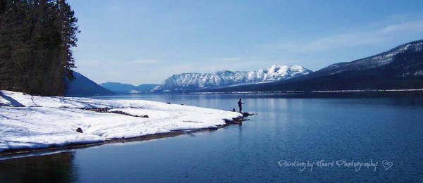 Photograph - Glacier Park Spring Fishing by Deahn      Benware