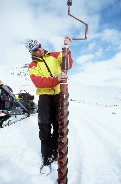 Wall Art - Photograph - Glaciologist Drilling An Ice Core by David Hay Jones/science Photo Library