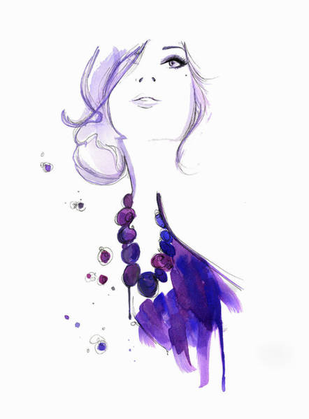 Front Digital Art - Glamorous Woman Wearing Purple Necklace by Jessica Durrant