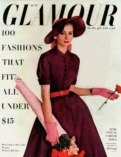 Neckline Photograph - Glamour Cover Featuring Suzy Parker by Richard Rutledge