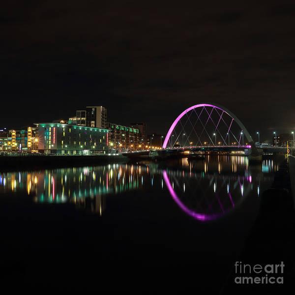 Photograph - Glasgow Clyde Arc Bridge At Night by Maria Gaellman
