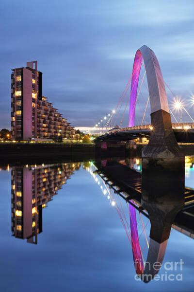 Photograph - Glasgow Clyde Arc Bridge Reflections by Maria Gaellman