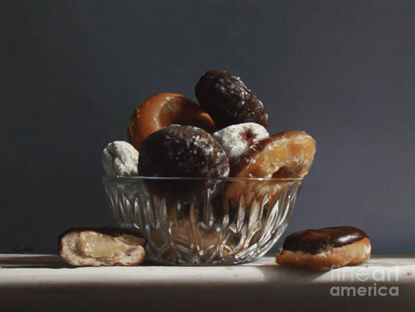 Wall Art - Painting - Glass Bowl Of Donuts by Lawrence Preston