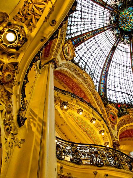 Galeries Lafayette Photograph - Glass Dome Lafayette Galeries 2 by Jim Pruett