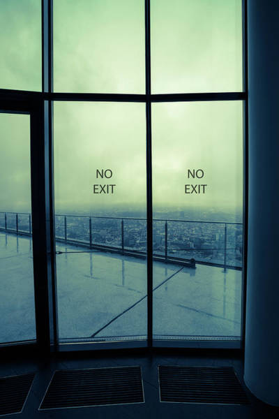 Wall Art - Photograph - Glass Doors With 'no Entry' And View Of City by Wladimir Bulgar/science Photo Library