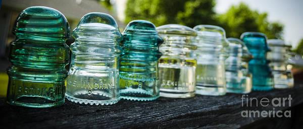 Hemingray Photograph - Glass Insulator Row by Deborah Smolinske