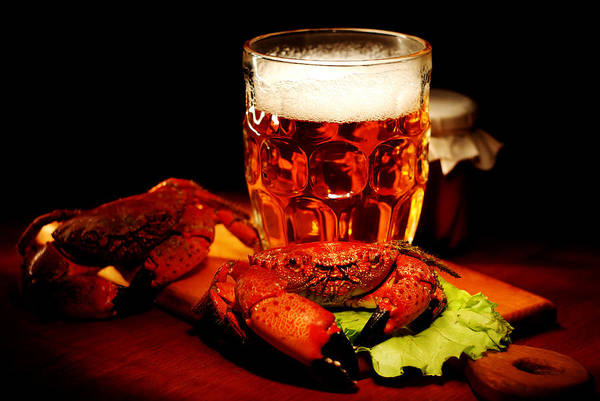 Still Life Wall Art - Photograph - Glass Of Beer With Snack  by Anna Aybetova