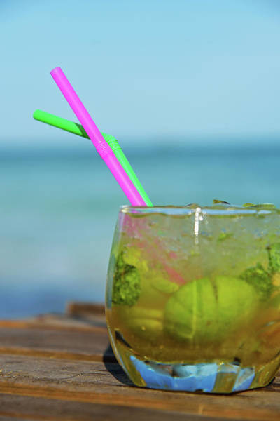 Drinking Glass Photograph - Glass Of Mojito Cocktail By Tropical by Sami Sarkis