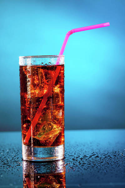 Soda Straws Photograph - Glass Of Soda With A Drinking Straw by Wladimir Bulgar