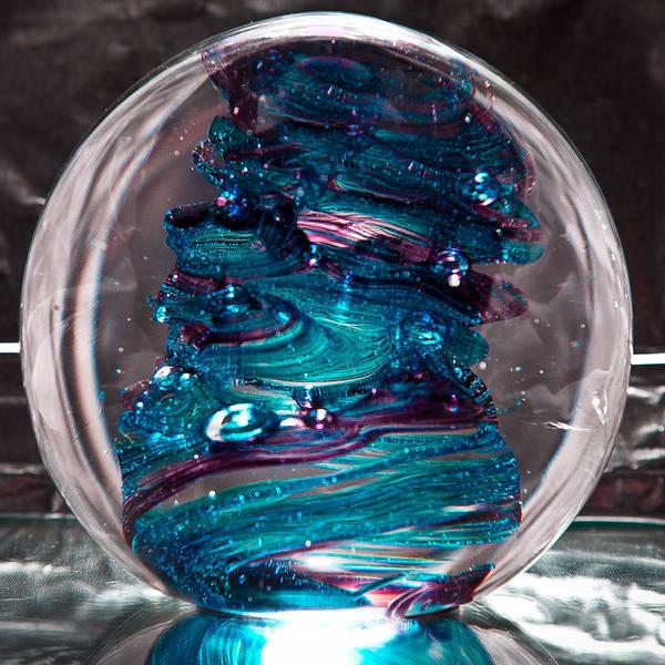 Sculpture - Glass Sculpture Blues And Purple Rb4 by David Patterson