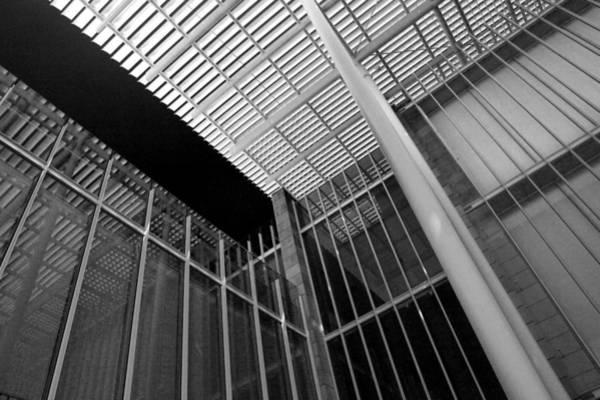 Photograph - Glass Steel Architecture Lines Black White by Patrick Malon