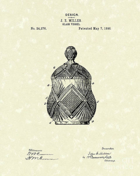 Drawing - Glass Vessel 1895 Patent Art by Prior Art Design
