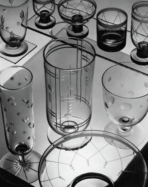 Home Accessories Photograph - Glasses And Crystal Vases By Walter D Teague by The 3