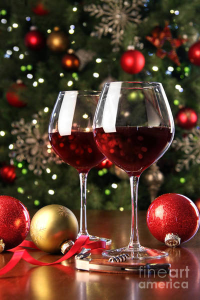 Photograph - Glasses Of Red Wine In Front Of Christmas Tree by Sandra Cunningham