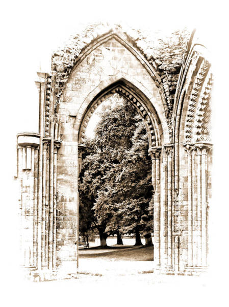 Photograph - Glastonbury Abbey Arch Ruins by Menega Sabidussi