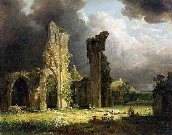 Great Britain Painting - Glastonbury Abbey With The Tor by George Arnald