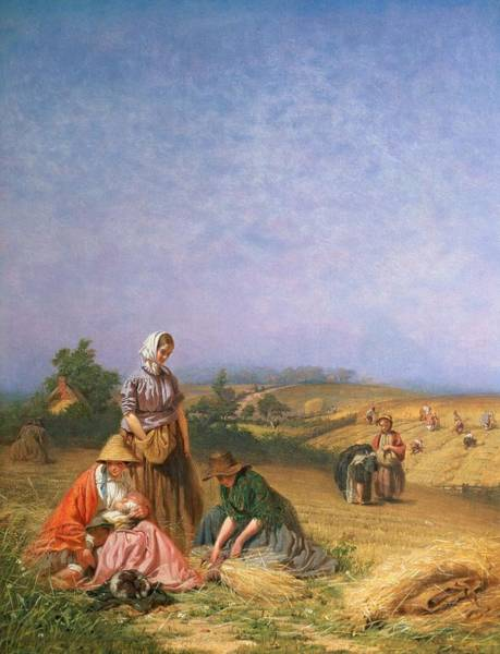 Blue Dress Painting - Gleaning by George Elgar Hicks