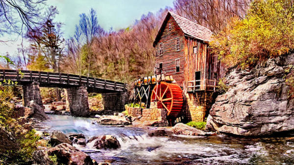 Painting - Glen Creek Grist Mill Painting by Bob and Nadine Johnston