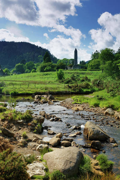 Cloudscape Photograph - Glendalough Creek With The Old Monastic by Mammuth