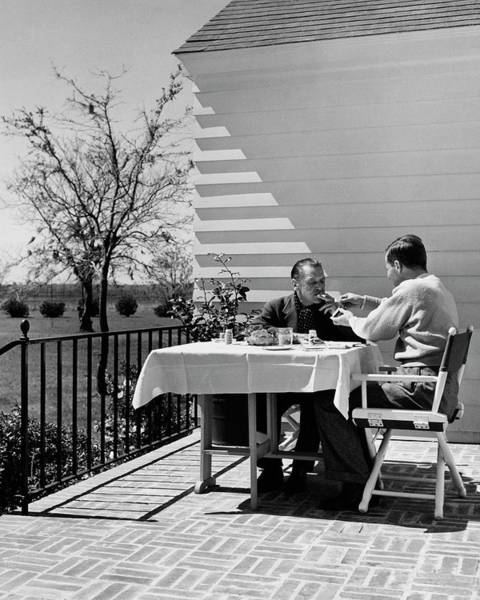 Outdoor Furniture Photograph - Glenway Wescott And Somerset Maugham On A Porch by Serge Balkin