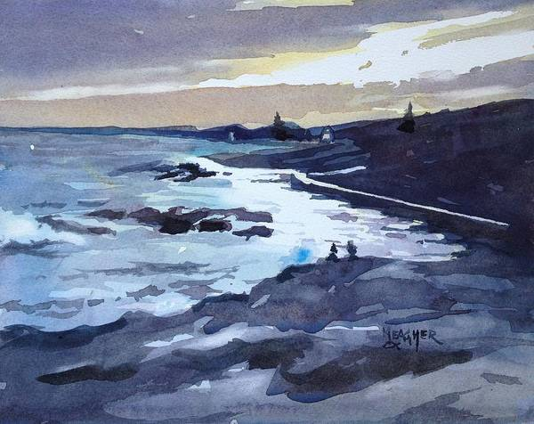 Lake Superior Painting - Glimmer Of Sunset by Spencer Meagher