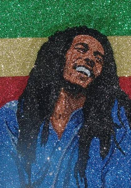 The Wailers Painting - Glitter Art Bob Marley by Richard Ian Cohen